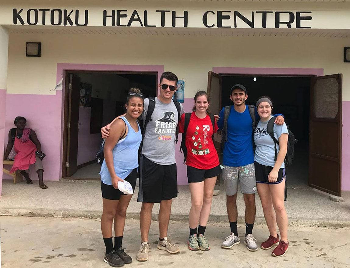 The first recipients of the Gallo Global Health Fellowships, pictured in Ghana, are, from left, Shanik Morales '20, Samuel Jennings '19, Madison Olenzak '19, Carlos Perez '19, and Meghan Allen '19.