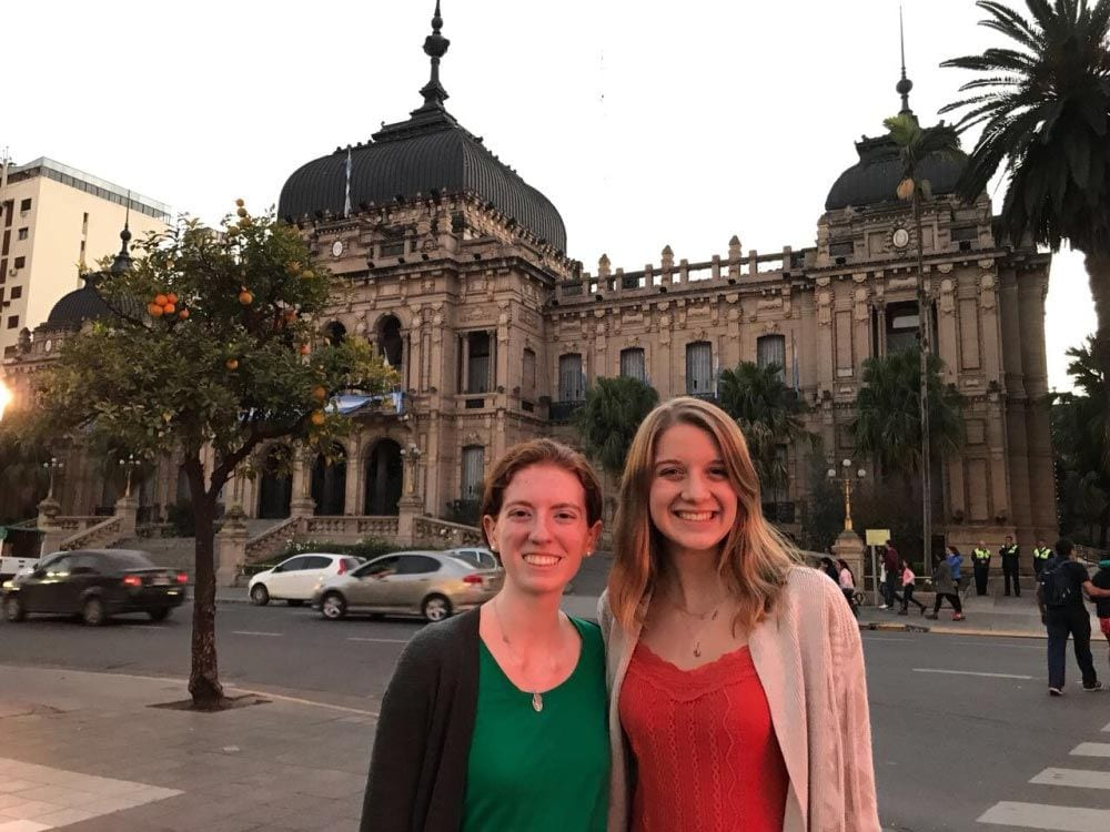 Emily Ascherl '20, left, and Julia Gaffney '20 are in Tucuman, Argentina, with the Dominican Sisters of the Most Holy Name of Jesus.