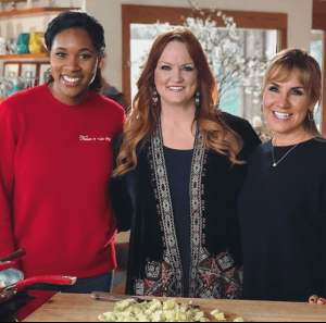 In March 2018, Christine D'Auria Donovan '86, far right, was a guest on an episode of The Pioneer Woman with Nina Westbrook, far left, wife of Thunder point guard Russell Westbrook.