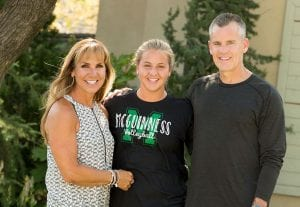 Connor Donovan, center, now a high school junior, is the youngest of four. She plays volleyball and tennis.