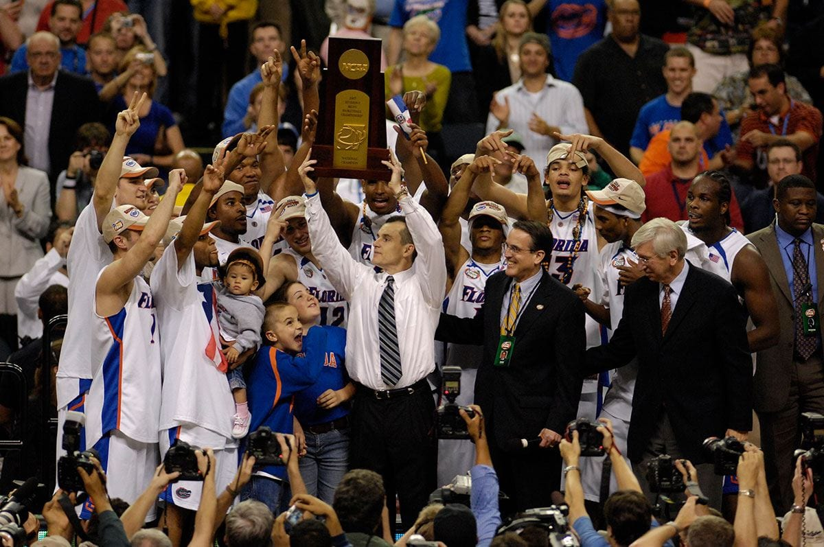 Billy Donovan '87 celebrates his second consecutive NCAA Tournament Championship with the University of Florida in 2007.