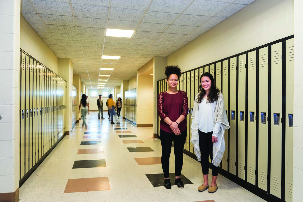Feinstein Fellows Junielly Vargas '21 and Christina Roca '21 helped students prepare for college at 360 High School.