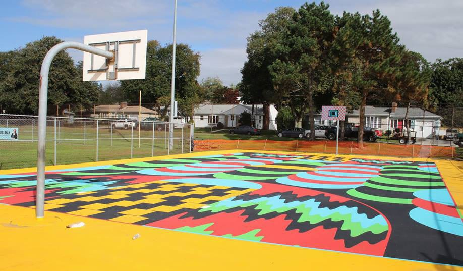 One of two freshly painted basketball courts at Fargnoli Park.