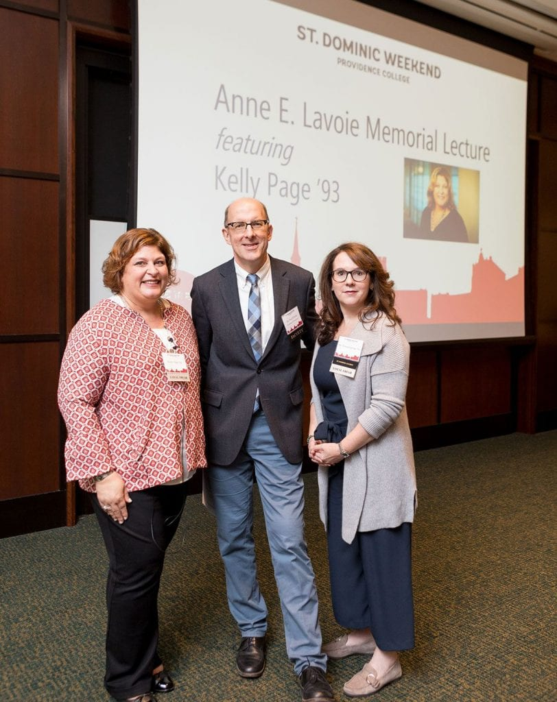 Kelly Page '93, left, presented the Anna E. Lavoie Memorial Lecture, which was endowed by Dr. Teresa Lavoie '89, right. At center is Dr. Paul T. Czech, professor of chemistry.
