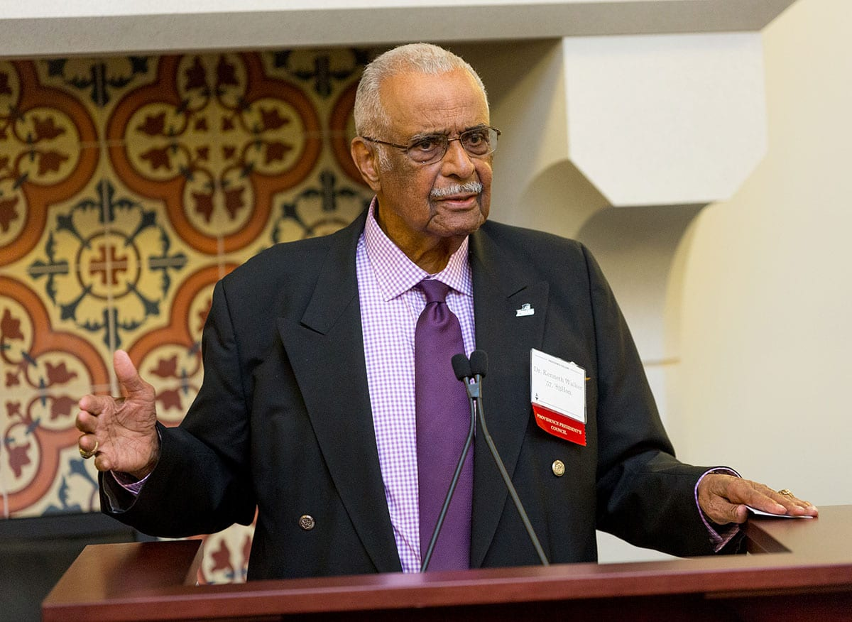 Dr. Kenneth R. Walker, Sr. '57 & '83Hon. addresses the audience at the annual reception for the scholarship fund in his name in April 2018.