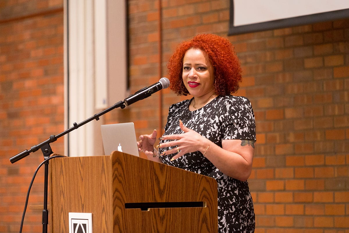 Nikole Hannah-Jones, a writer for The New York Times Magazine, spoke at the Humanities Forum about continuing segregation in education.