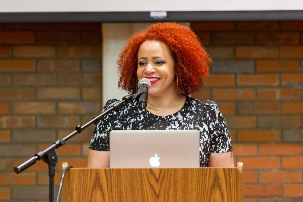 Nikole Hannah-Jones, writer for The New York Times Magazine, speaks in Slavin Center '64 Hall about racial segregation in education.
