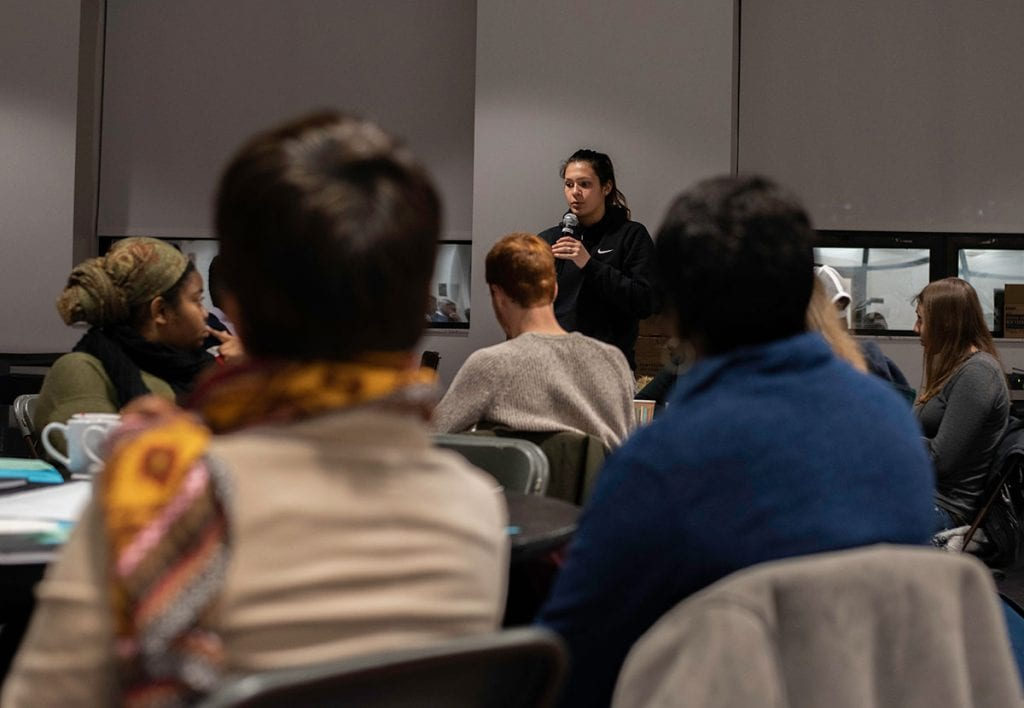 The monthly FaculyTEAS discussion in the Center at Moore Hall was a remembrance and reflection on the work of the Rev. Dr. Martin Luther King Jr. (Photo by Olivia D'Elia '19, PC Photography Club)