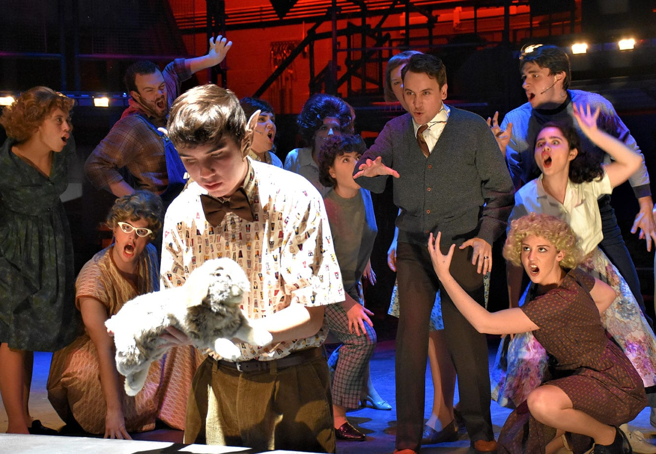 "Daniel Jameson '21, right center, seen performing in PC's ""Bat Boy: The Musical,"" advanced to the national competition of the Kennedy Center American College Theatre Festival following the recent Region I festival."