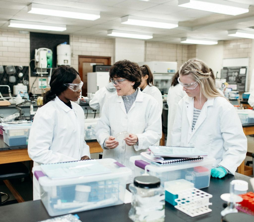 Dr. Kathleen A. Cornely, professor of chemistry, works with students in her phage lab.