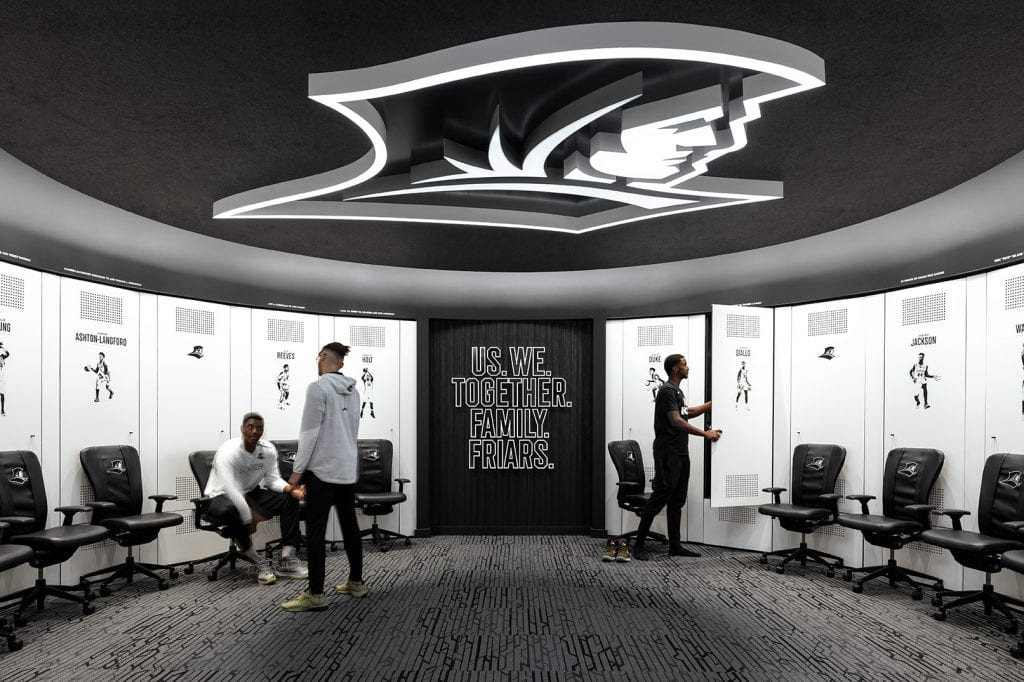 The new locker room for men's basketball players.