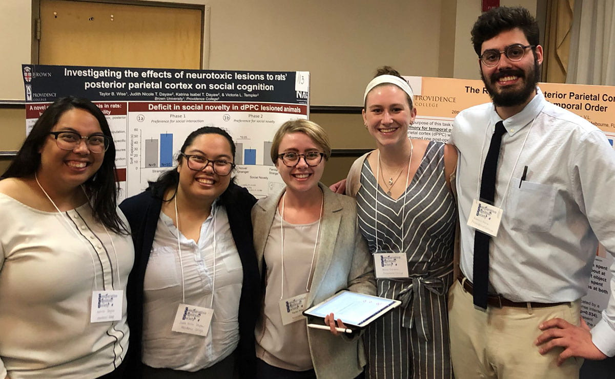 Dr. Victoria Templer's research students at the 26th International Conference on Comparative Cognition. From left, Katrina Dayaw '19, Judith Dayaw '19, Taylor Wise, Annie Dankert '21, and Robert Vera '20.