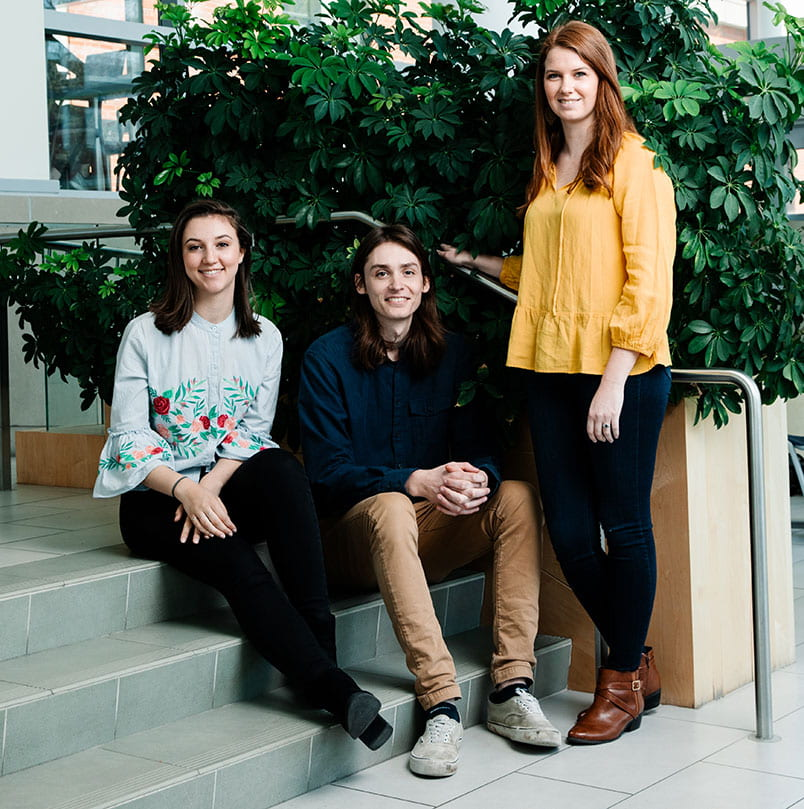 Fulbright scholars, from left, Elena Morganelli '19, Kevin Cranney '19, and Emilee Serwan '19.