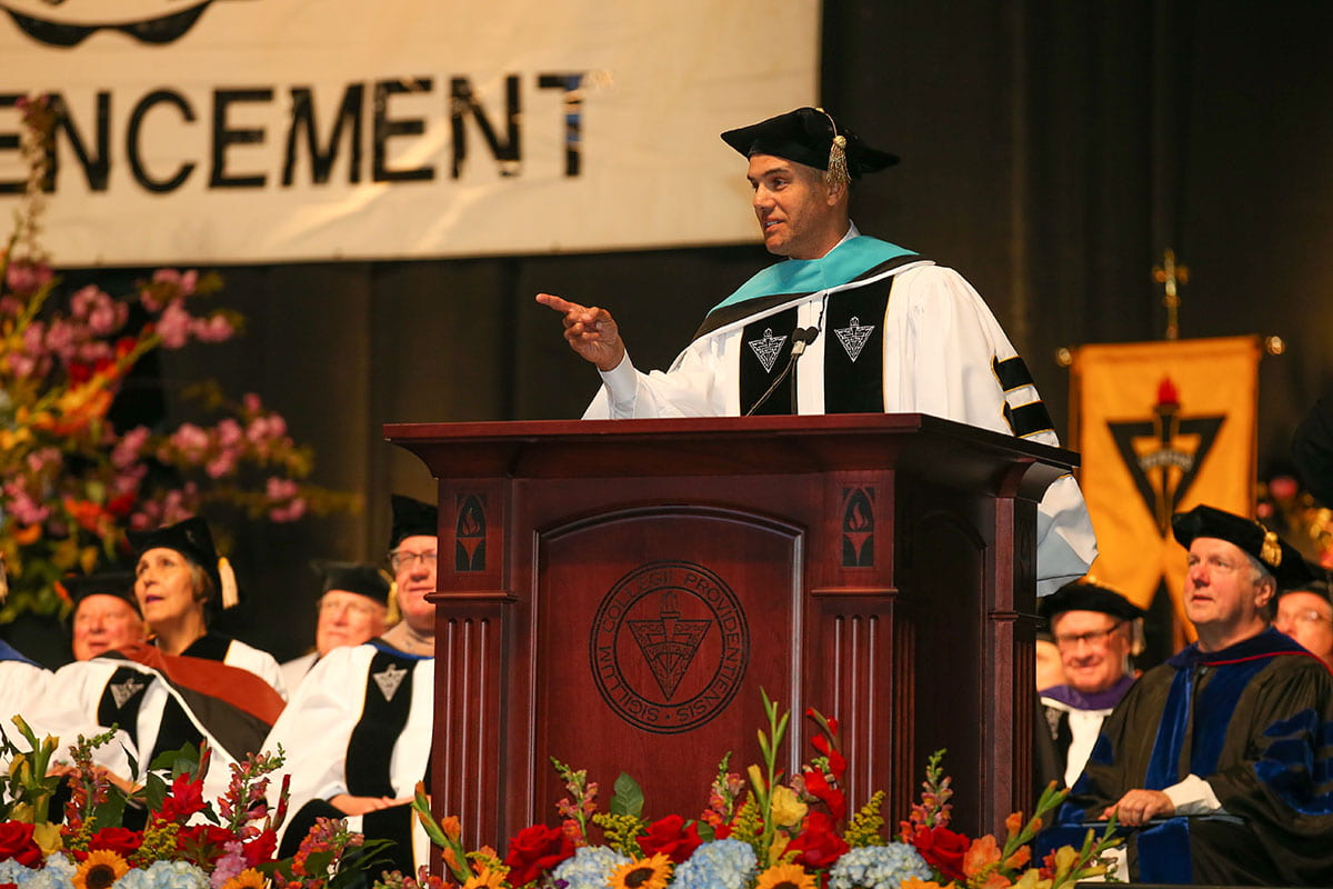 Steve Pemberton acknowledges students during his remarks to the Class of 2019.