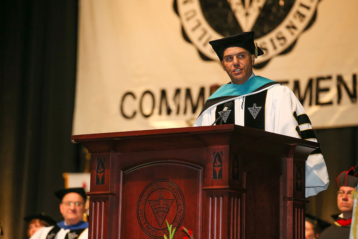 Featured speaker Steve Pemberton encouraged members of the Class of 2019 to be lighthouses in the lives of others.