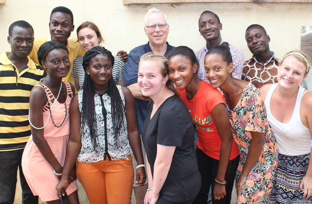 Dr. Stephen J. Mecca '64, '66G, &'19Hon. with students from Providence College and the University of Ghana and Ashehi University during a visit to the country in 2015.