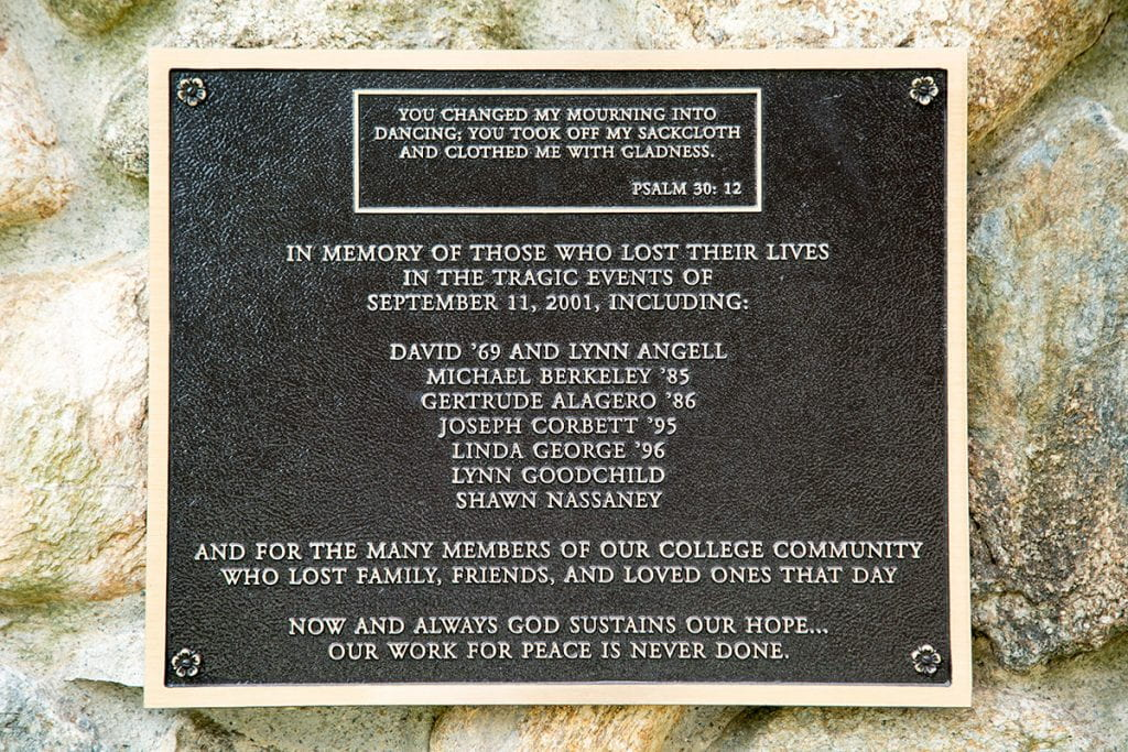 A plaque on the War Memorial Grotto remembers those who died in the Sept. 11, 2001 attacks.