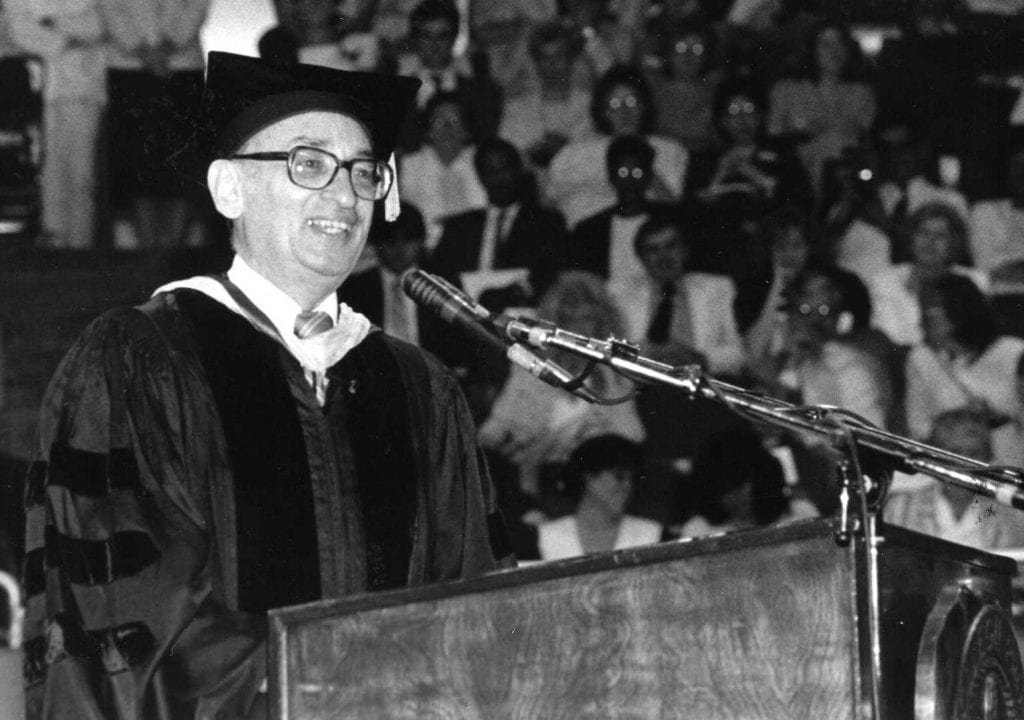 """Dr. Francis P. """"Pat"""" MacKay at Commencement Exercises in 1987."""