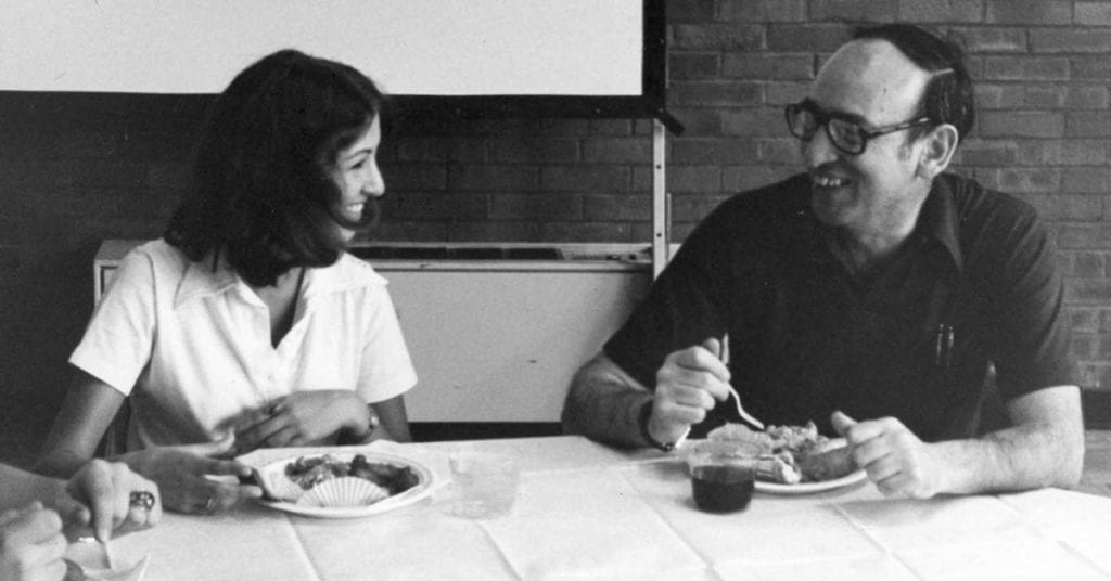 """Dr. Francis P. """"Pat"""" MacKay at lunch in a photo dated 1977."""
