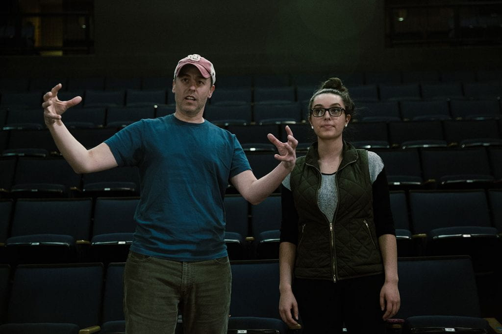 "Jimmy Calitri, associate professor theatre, left, is directing the upcoming production of ""Something Rotten!"" He's pictured here with Kristina Pavao '16 preparing for a production in 2016."