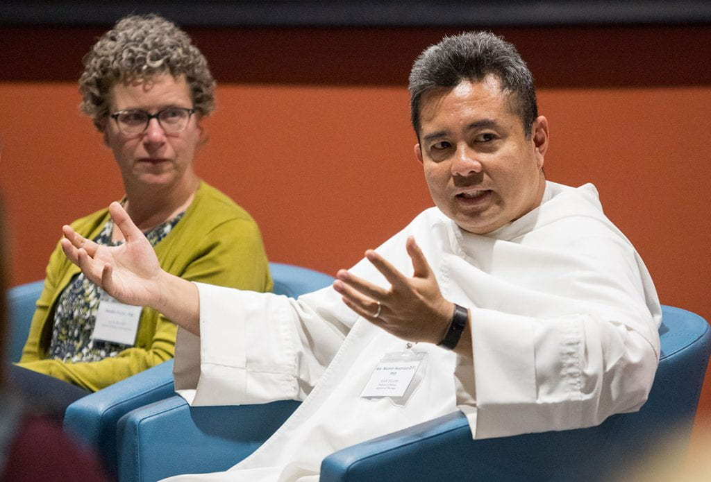 Rev. Nicanor Austriaco, O.P., professor of biology and of theology, and Dr. Deirdre G. Snyder, assistant professor of management, both Riccobono faculty fellows.