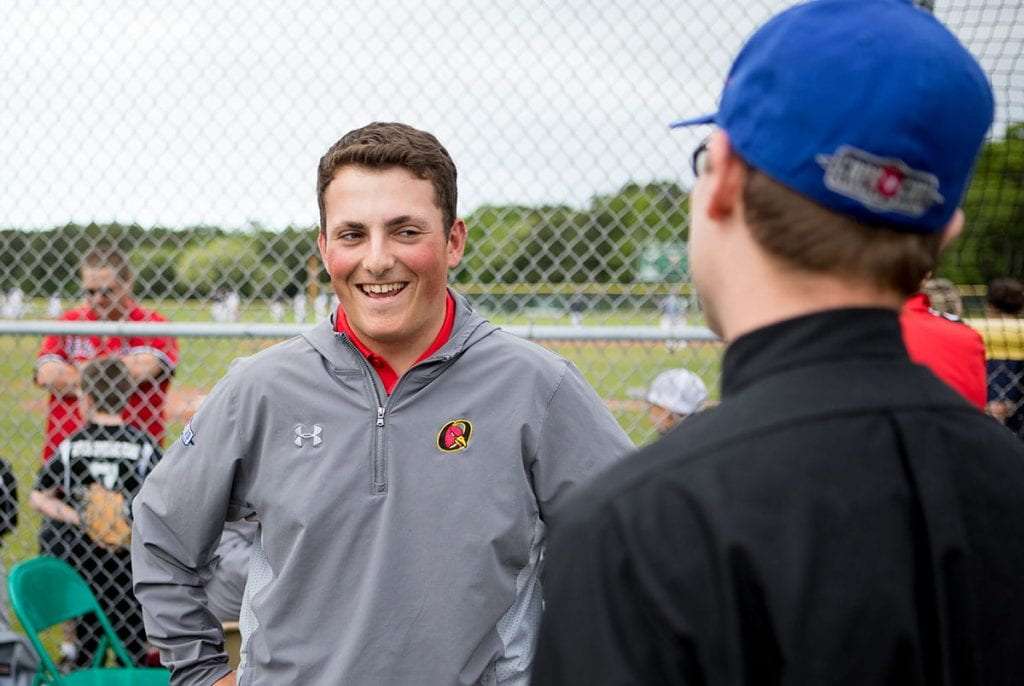 Thomas Zinzarella '21, who has interned with the Cape Cod League as a play-by-play broadcaster for two summers, is studying sabermetrics with Rev. Humbert Kilanowski, O.P.
