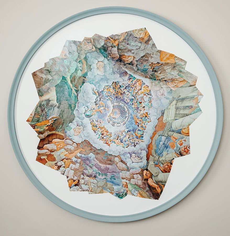 "Theresa Ganz, ""The Fall of the Giants, Palazzo Te,"" 2017, archival pigment print, 43 inches diameter. This work was created through the compression of 3D scans made by the artist using proprietary software and thousands of images sourced via a Google search engine. The Providence-based artist collaborated with PC students and coders and designers from Google's Brand Studio to create the work."