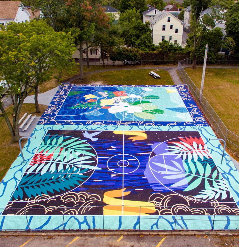 As part of the My HomeCourt project sponsored by Friends of Friars Basketball, Jamilee Lacy commissioned artists Joiri Minaya and Jordan Seaberry to design murals for the basketball courts in Providence's Harriet & Sayles Park that celebrate the neighborhood's Dominican-American heritage.