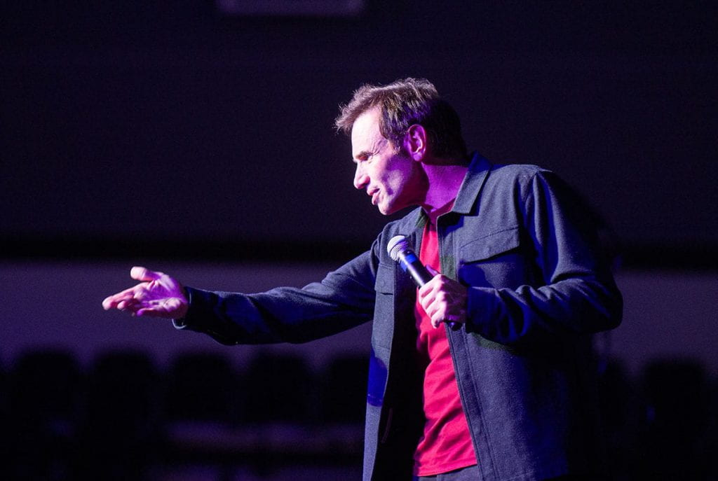 Paul Mercurio '82 brought his comedy show to Mullaney Gym in Alumni Hall.