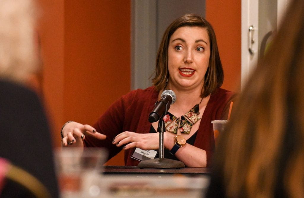 "Caitlin Kelly '17 makes a point during the panel ""Feminisms after Graduation."""