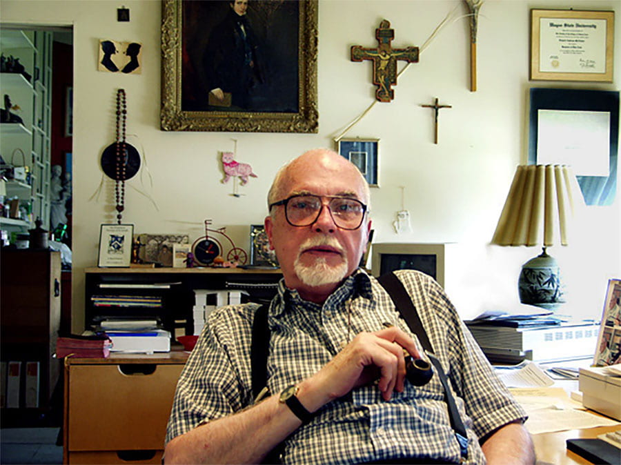 Father McAlister in his studio-office in Hunt-Cavanagh Hall