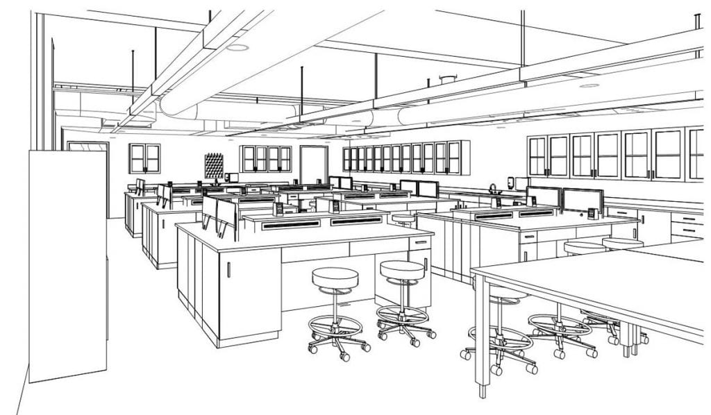 A 3-D view of the planned Fred M. Roddy Anatomy and Physiology Lab. (Drawing courtesy of The S/L/A/M Collaborative.)
