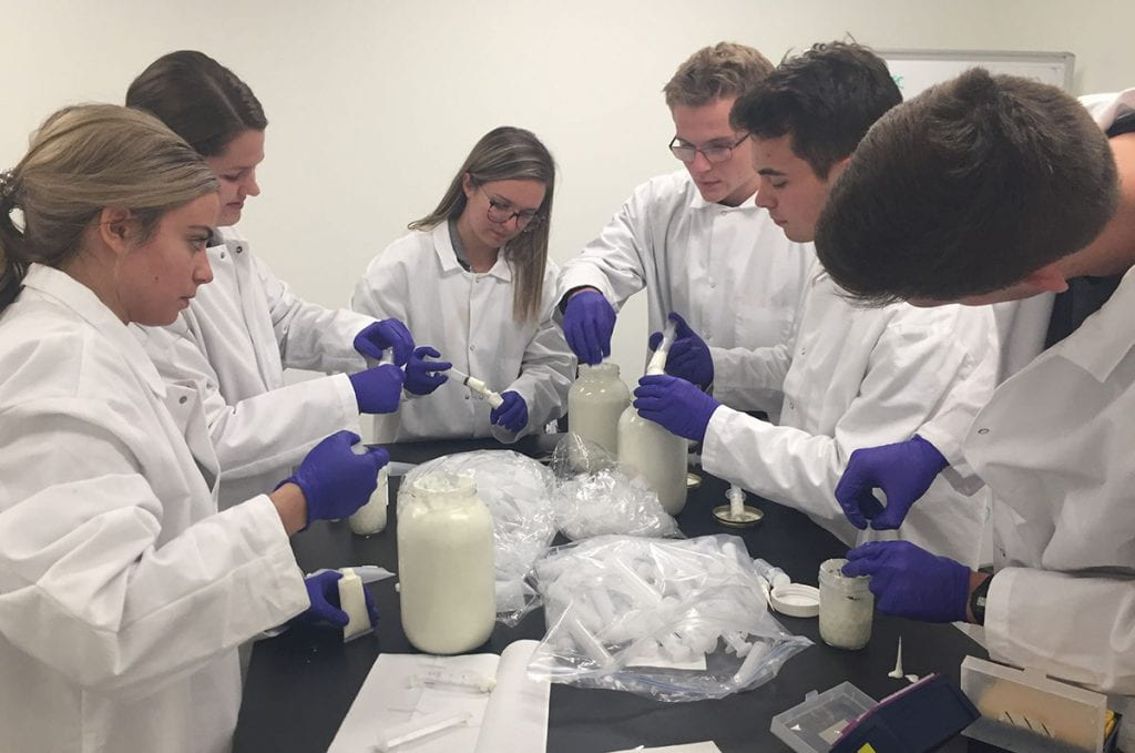 Student workers fill tubes with For Good hand cream, made from the root of the costus plant, which has anti-aging properties.