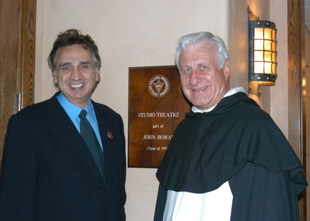 John Bowab '55 & '89Hon. stands outside the studio theatre named for him with then College President Rev. Philip A. Smith, O.P. '63. The occasion was the dedication of the Smith Center for the Arts, named for Father Smith, on Oct. 29, 2004.