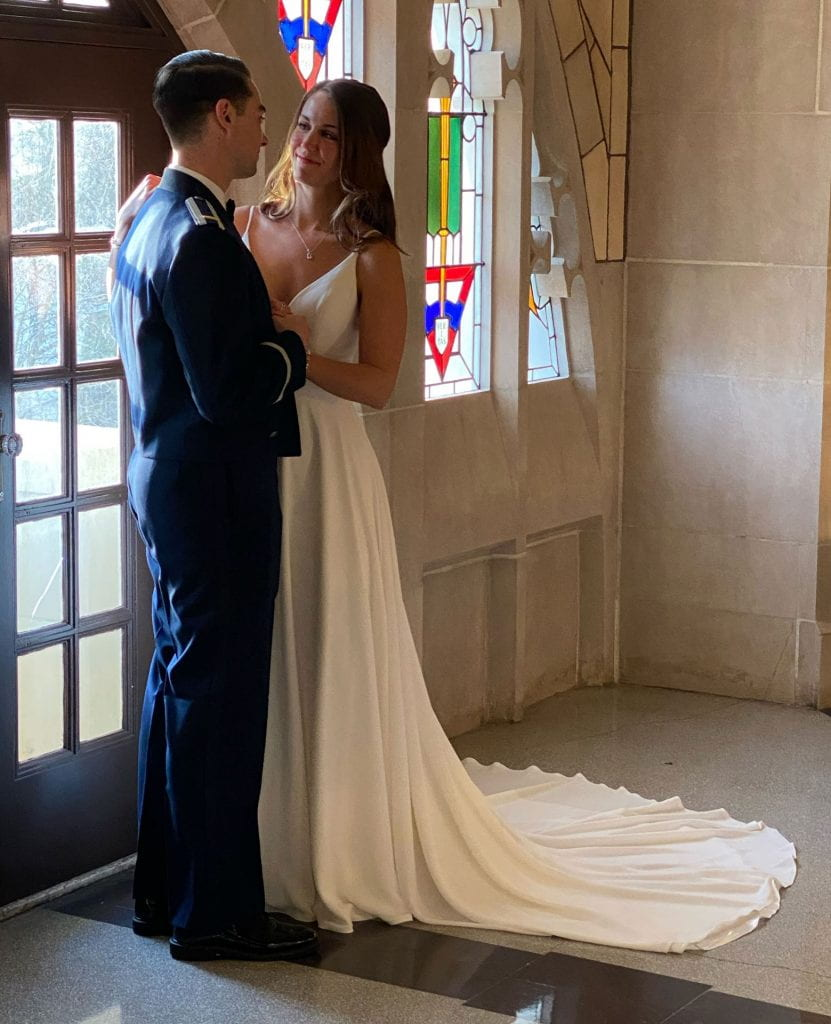 Ryan Frazier '15 and Emma Beer '16 shared their first dance in the Harkins Hall rotunda to a song played on Father Cuddy's iPhone.