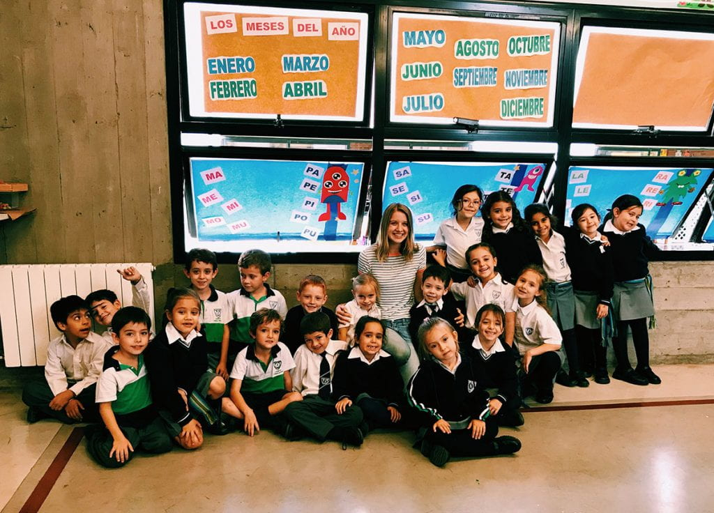 Julia Gaffney '20 with children she taught during her trip to Argentina with the Father Philip A. Smith, O.P. Student Fellowships for Study and Service Abroad program