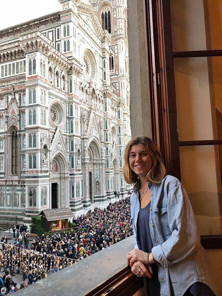 Nicole Gottlieb '20 overlooking the Cathedral of Santa Maria del Fiore in Florence, Italy.