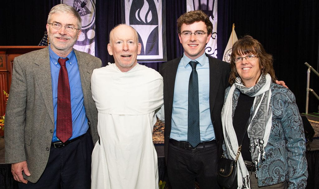 Jack Murphy '20 with Father Shanley and his parents