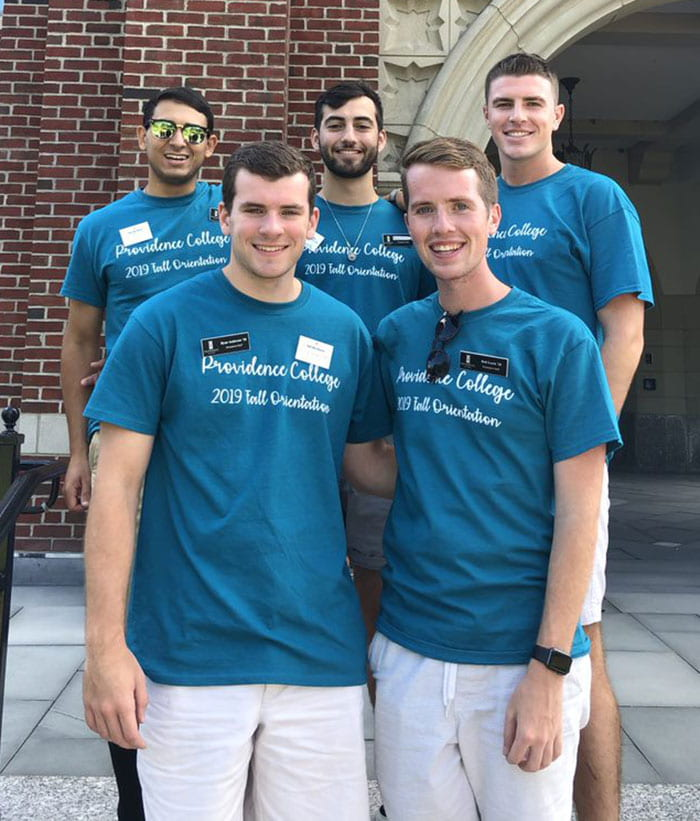 Nathan Perez '20, at center in second row, served as an orientation leader for two summers. Here he's with 2019 orientation leaders who are classmates. With him are, front row from left, Ryan Anderson '20 and Rob Lesch '20, and rear, Grant Weiller '20 and Max Tyschen '20.