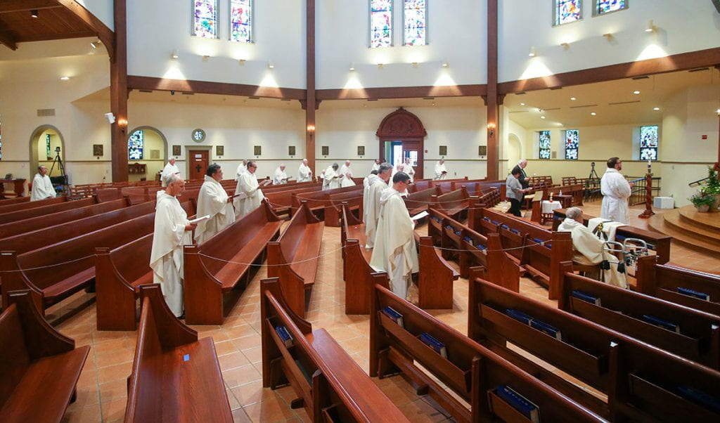 Dominicans gather in St. Dominic Chapel, following social distancing protocols, for the ordination to the priesthood of Rev. Jordan Zajac, O.P. '04.
