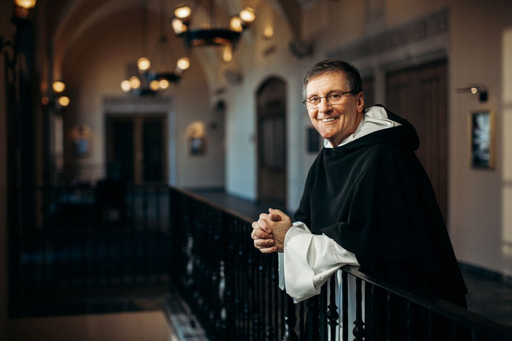 College President Rev. Kenneth R. Sicard, O.P. '78 & '82G, in the Smith Center for the Arts.