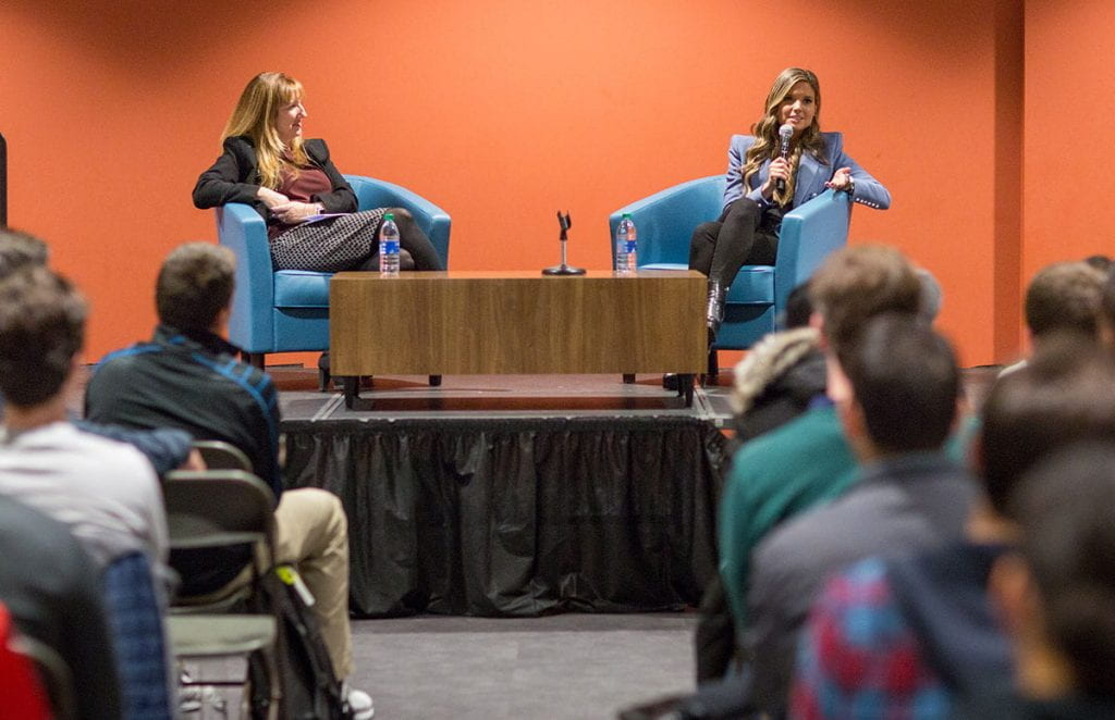Kim Miale '01, right, answers a question during a discussion with students on campus last fall. At left is the moderator, Patti Goff '08G, assistant vice president for integrated learning and administration.