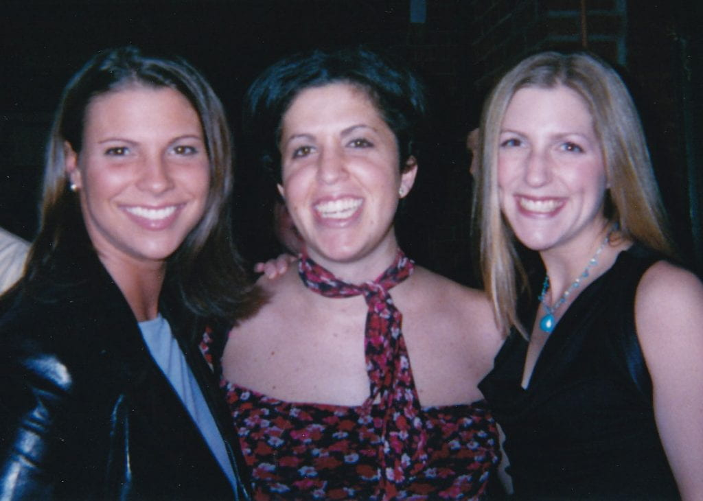From left, Maia Venturi Kloepfer '02, Marisa E. McGrody '02, and Katie Marra '02 at the 99 Nights event their senior year