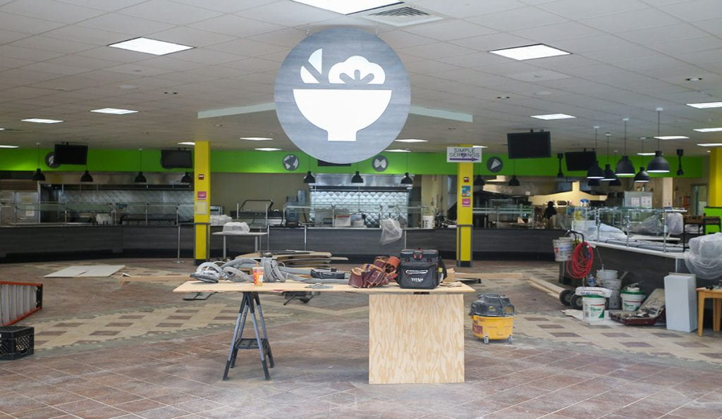 During the summer, crews were busy modifying Raymond Dining Hall, the main student cafeteria, to improve flow and eliminate self-serve options.