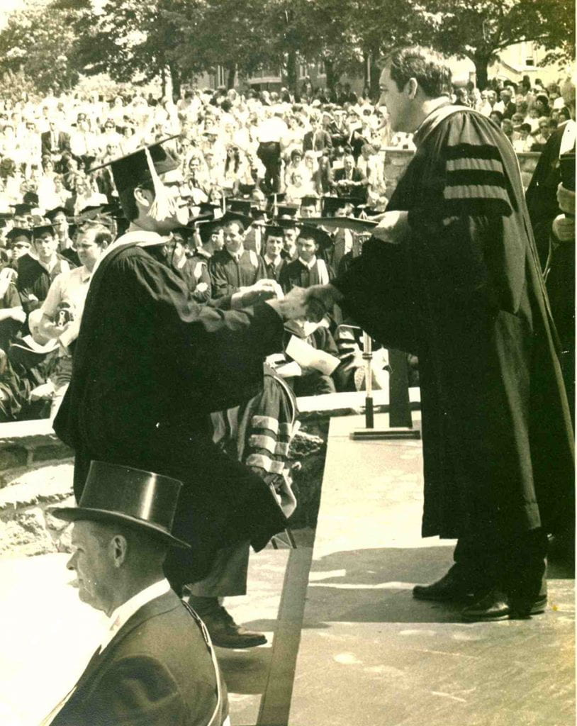 Roy Peter Clark '70 & '17Hon. accepts his diploma from College President William P. Hass '48.