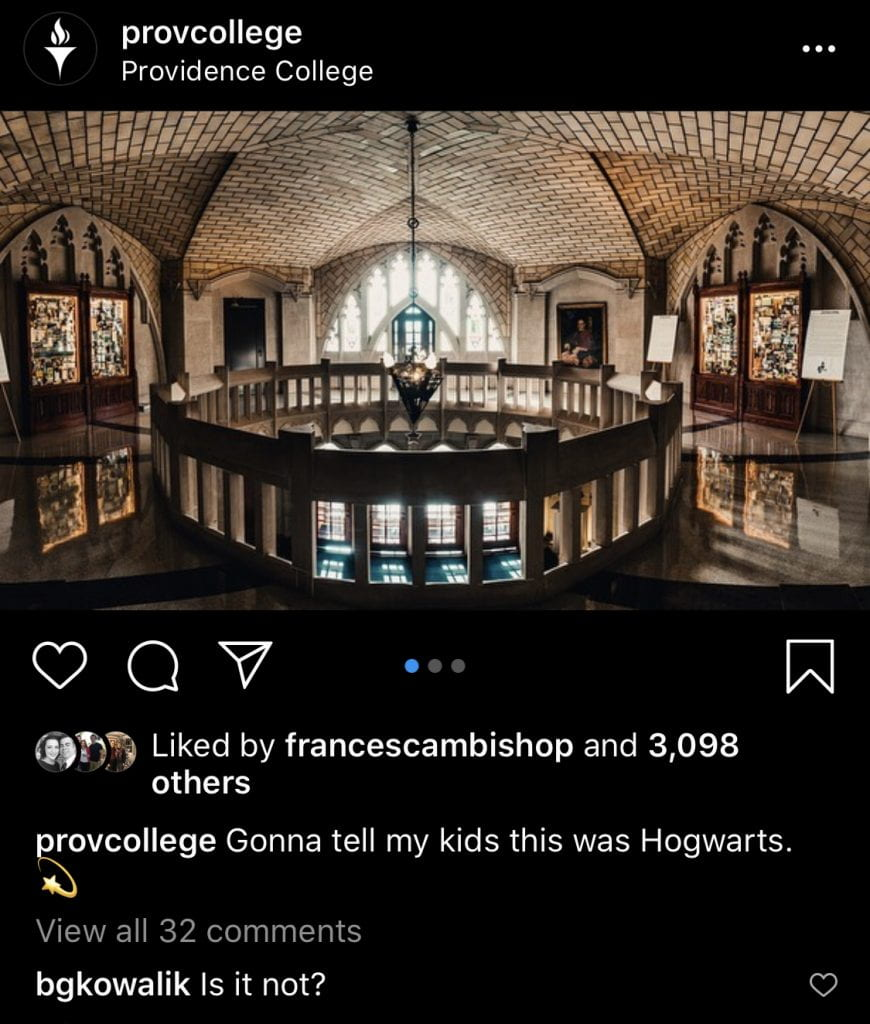 """An Instagram post featuring an image of the second floor of the Harkins Rotunda, with the caption """"Gonna tell my kids this was Hogwarts."""" A comment from @bgkowalik reads, """"Is it not?"""" The post has more than 3,000 likes."""