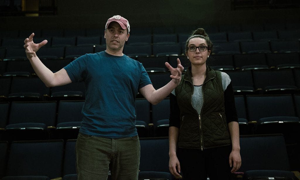 """Jimmy Calitri, managing director of theatre, left, will direct """"Violet: The Musical"""" in April 2021. Here he works with Katrina Pavao '16 during a rehearsal in 2016."""