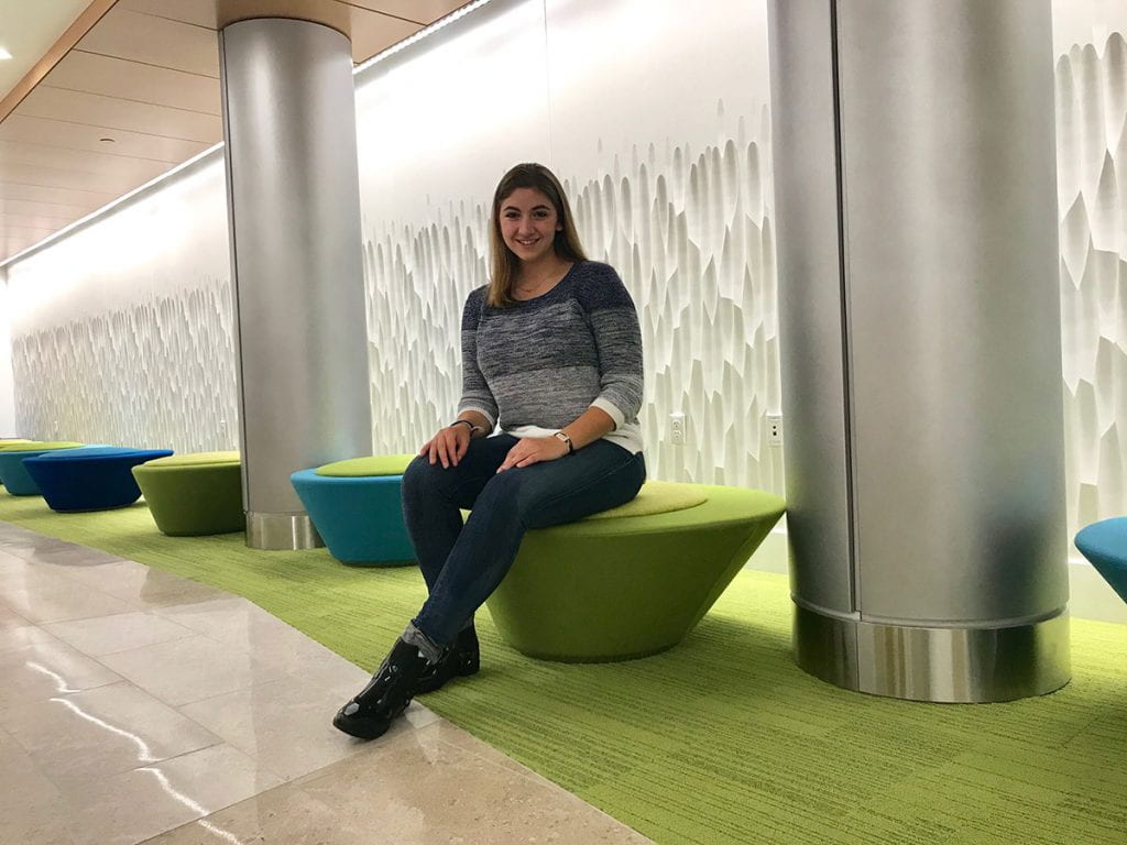 Victoria Haak '20, biology major, in the Science Center addition, which opened for the 2018-19 academic year.