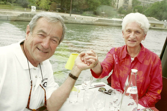 Andrew C. Corsini, C.P.A. '57 and his wife, Yvonne, take a scenic river tour in Paris in 2006. They were married 56 years and loved to travel.