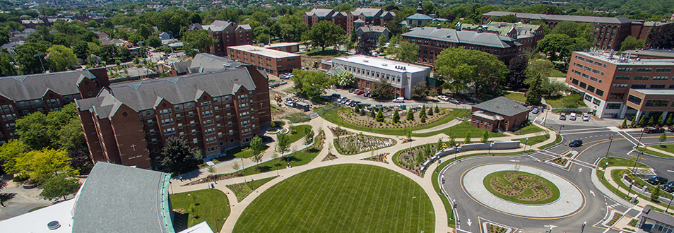Overhead view of campus on a sunny day